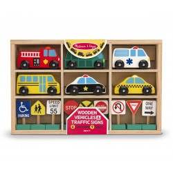 Melissa & Doug Drevené autíčka - záchranárske a mestské vozidlá s dopravnými značkami