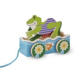 Melissa & Doug Drevená hračka na ťahanie - Žabacie preteky