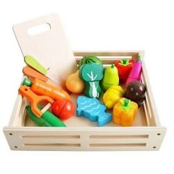 ISO Trade 9430 Drevené ovocie a zelenina na krájanie s magnetmi