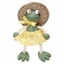 Drevená figúrka na pružinke - Žabka dievčatko