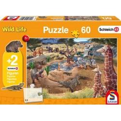 Schleich 56191 Schmidt Puzzle 60 ks-ové Wild Life + 2 Schleich figúrky