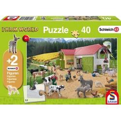 Schleich 56189 Schmidt Puzzle 40 ks-ové Farm World + 2 Schleich figúrky