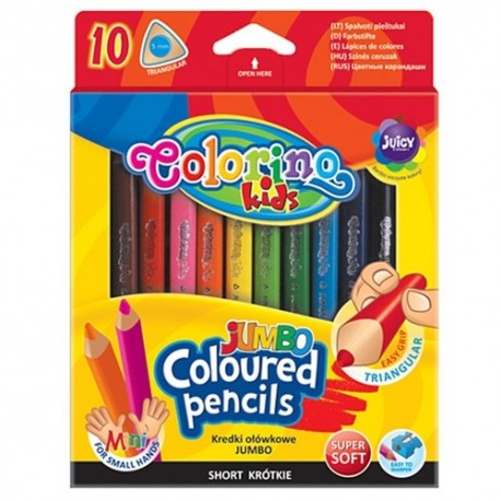 Colorino Kids farebné ceruzky 10 ks krátke Jumbo