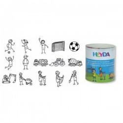 HEYDA Detské pečiatky - 15 kusové - Futbal a Stavba