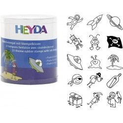 HEYDA Detské pečiatky - 15 kusové - Piráti a Vesmír
