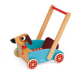 JANOD Drevené chodítko a vozík na tlačenie Veselý pes
