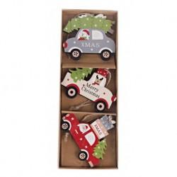 Drevené ozdoby na vianočný stromček 3 ks - autá s darčekmi a stromčekmi