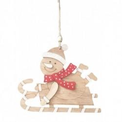 Drevená závesná dekorácia - Snehuliak na sánkach