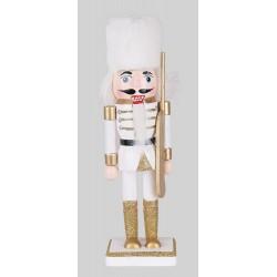 Drevená figúrka Luskáčik 21 cm-ový bielo-zlatý s puškou