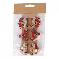 Drevené dekoračné štipce 6 ks - autíčka natur-červené