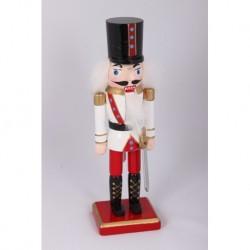 Drevená figúrka Luskáčik 21 cm-ový bielo-červený s mečom