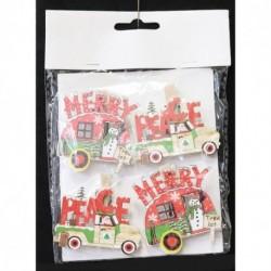 Drevené dekoračné štipce 4 ks - autíčka s nápisom Merry a Peace