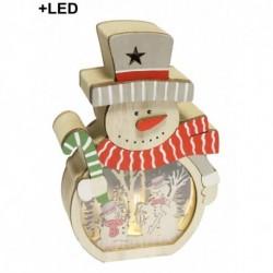 Drevená dekorácia s LED podsvietením - Snehuliak