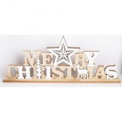 Drevená dekorácia so svietiacou hviezdou - MERRY CHRISTMAS 46 cm