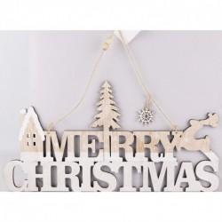 Drevená závesná dekorácia - MERRY CHRISTMAS 38 cm