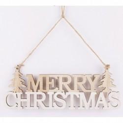 Drevená závesná dekorácia - MERRY CHRISTMAS 22 cm