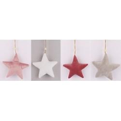 Vianočné ozdoby z plyšu - hviezdy 4 kusy