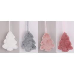 Vianočné ozdoby z plyšu - stromčeky 4 kusy