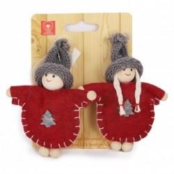 Ozdoba na vianočný stromček z filcu - chlapček a dievčatko so šedou čiapkou