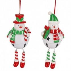 Ozdoba na vianočný stromček - Snehuliak na roľničke - 1 kus