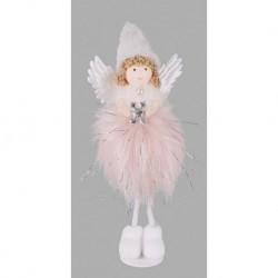 Vianočná dekorácia - stojaci anjelik 22cm - ružový