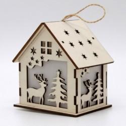 Drevený svietiaci domček natur - Stromček a jeleň 7*10cm