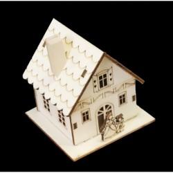 Drevená dekorácia s LED podsvietením - Domček 8*8 cm