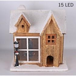 Drevená dekorácia s 15-timi LED svetielkami - Domček s lampou 26 cm