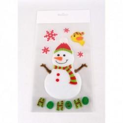 Vianočné ozdoby - nálepky na okno snehuliak HO HO HO a vtáčik