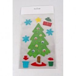 Vianočné ozdoby - nálepky na okno stromček s darčekmi