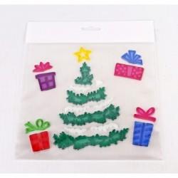 Vianočné ozdoby - nálepky na okno zasnežený stromček s darčekmi