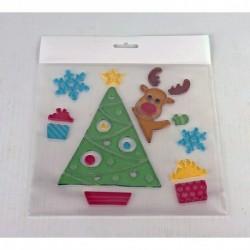 Vianočné ozdoby - nálepky na okno stromček s jelenčekom a darčekmi