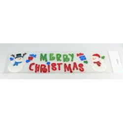 Vianočné ozdoby - nálepky na okno snehulici s nápisom MERRY CHRISTMAS