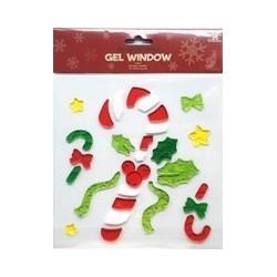 Vianočné ozdoby - nálepky na okno vianočné lízatko s imelom