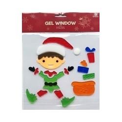 Vianočné ozdoby - nálepky na okno vianočný škriatok s darčekmi