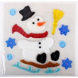 Vianočné ozdoby - nálepky na okno snehuliak na sánkach