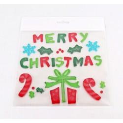 Vianočné ozdoby - nálepky na okno darček a nápis MERRY CHRISTMAS