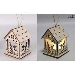 Drevený svietiaci domček natur - Stromček a jeleň