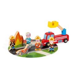 JANOD Mini Story Set drevené postavičky Požiarnici