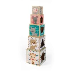 Janod Drevená skladacia pyramída Žirafa Sophie