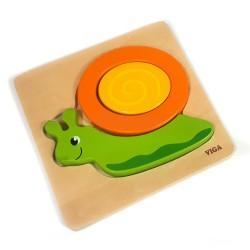 Drevené puzzle - hrubé dieliky - Slimáčik
