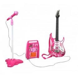 ISO Trade 4709 Detská rocková elektrická gitara na batérie ružová + zosilňovač a mikrofón