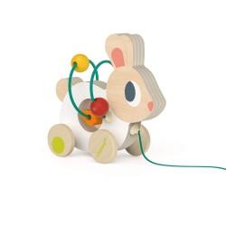Janod drevená hračka na ťahanie s motorickým labyrintom Zajačik