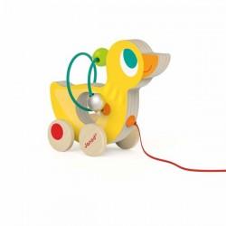 Janod drevená hračka na ťahanie s motorickým labyrintom Kačka