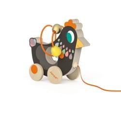 Janod drevená hračka na ťahanie s motorickým labyrintom Sliepočka