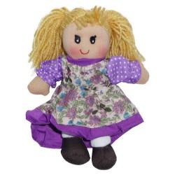 Látková bábika - 25 cm-ová textilná - vo fialových šatách