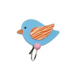 Drevený vešiak s úchytkou - Vtáčik