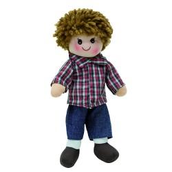 Látková bábika - 25 cm-ová textilná - v modrých nohaviciach
