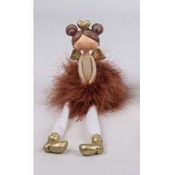 Vianočná ozdoba - anjelik dievčatko v šatách z peria - hnedé