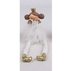 Vianočná ozdoba - anjelik dievčatko v šatách z peria - biele